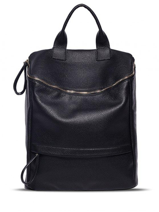 fashion Double Zipper PU Leather Backpack - BLACK