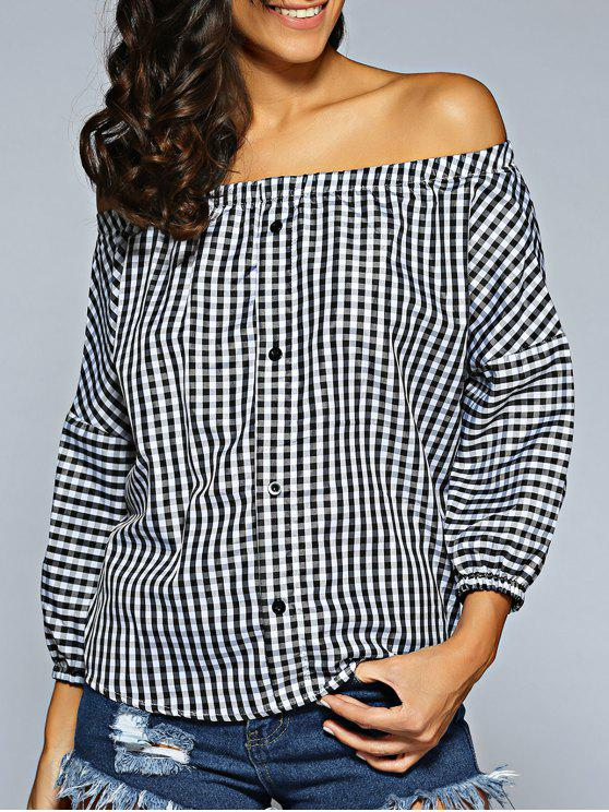 shops Off The Shoulder Checked Shirt - PLAID ONE SIZE