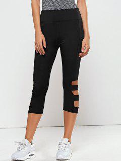Leggings Pantalons De Yoga Séché-rapide Avec Découpes - Noir L