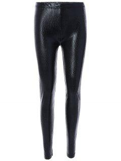 Elastic High Waist PU Leather Leggings - Black