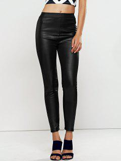 High Waisted Faux Leather Skinny Leggings - Black