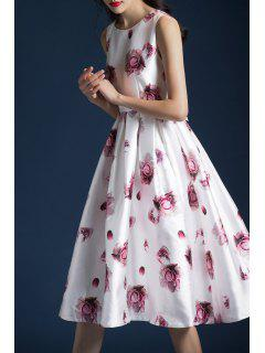 Waisted Floral A Line Dress - White L