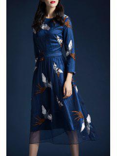Mesh Crane Embroidered A Line Dress - Deep Blue L