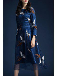 Mesh Crane Embroidered A Line Dress - Deep Blue M