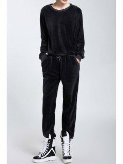 Velour Long Sleeve Sweatshirt And Drawstring Pants - Black Grey S