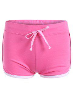 Drawstring Waisted Straight Sporty Shorts - Rose Red 2xl