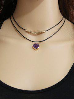 Faux Amethyst Alloy Beaded Choker Necklace - Purple