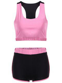 U Neck Sporty Bra And Color Block Shorts - Pink L