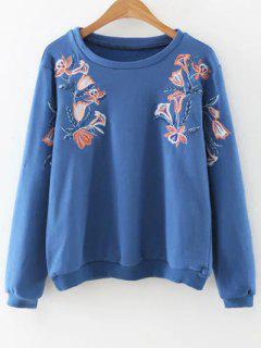 Gestickte Lose Sweatshirt - Blau L