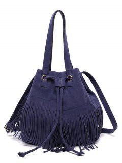 Drawstring Fringe Faux Suede Shoulder Bag - Deep Blue