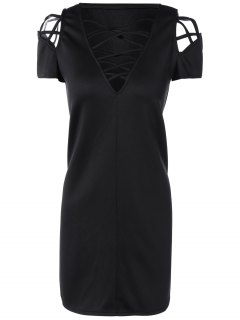 V Neck Strappy Shift Dress - Black L