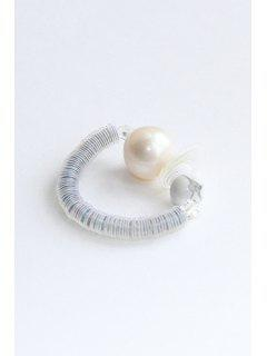 Multilayer Circle Resin Pearl Ring - Silver And White