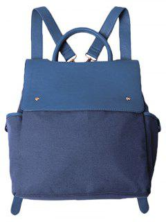 Splicing Canvas Magnetic Closure Backpack - Blue