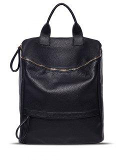 Double Zipper PU Leather Backpack - Black