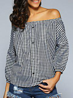 Off The Shoulder Checked Shirt - Plaid