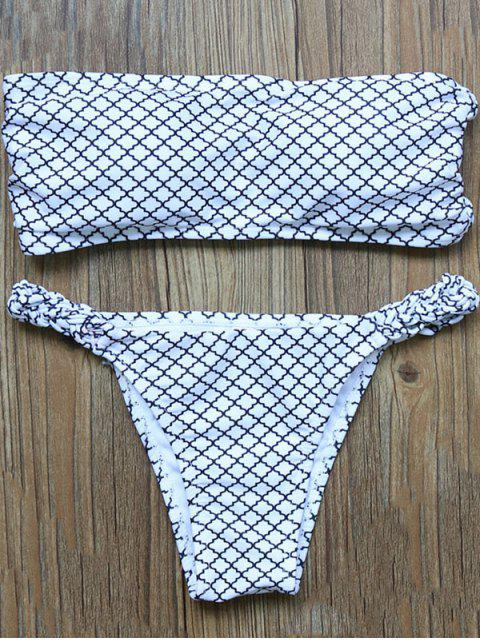 fashion V-String Bandeau Bikini Set - WHITE L Mobile