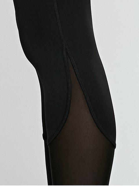 latest High Waisted Mesh Spliced Yoga Leggings Pants - BLACK L Mobile