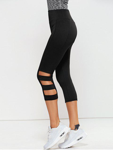 best Hollow Out Quick -Dry Gym Capri Workout Pants - BLACK L Mobile