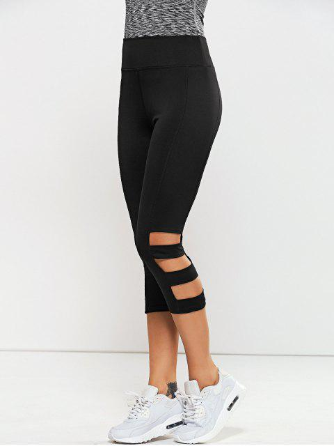 lady Hollow Out Quick -Dry Gym Capri Workout Pants - BLACK XL Mobile