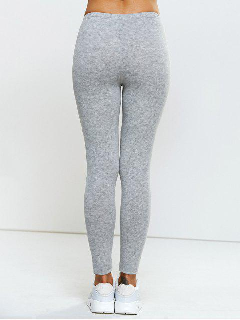 shops Stretchy Side Letter Print Skinny Pants - LIGHT GRAY ONE SIZE Mobile