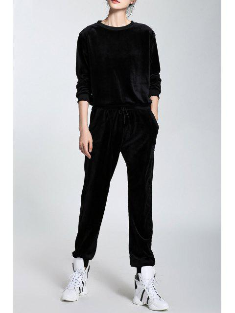 outfits Velour Long Sleeve Sweatshirt and Drawstring Pants - BLACK M Mobile