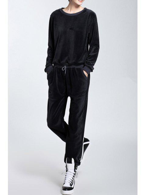 trendy Velour Long Sleeve Sweatshirt and Drawstring Pants - BLACK GREY S Mobile