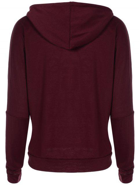 sale Christmas Snowflake Letter Print Hoodie - WINE RED XL Mobile