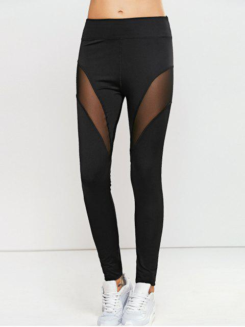 outfit Quick -Dry Yoga Leggings Pants with Mesh - BLACK L Mobile