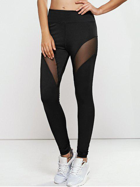 shop Quick -Dry Yoga Leggings Pants with Mesh - BLACK S Mobile