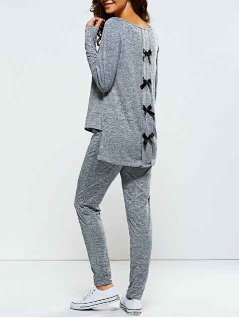 chic Bowknot Embellished Asymmetrical Sports Suit - GRAY M Mobile