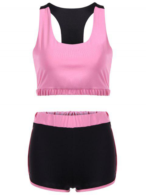 latest U Neck Sporty Bra and Color Block Shorts - PINK L Mobile