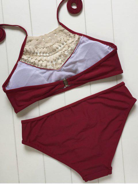 latest High Neck Lace Spliced Bikini Set - WINE RED L Mobile