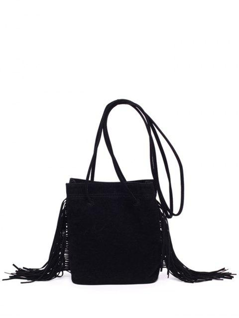 trendy Fringe Stitching Faux Suede Crossbody Bag -   Mobile