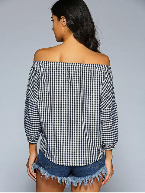 shops Off The Shoulder Checked Shirt - PLAID ONE SIZE Mobile