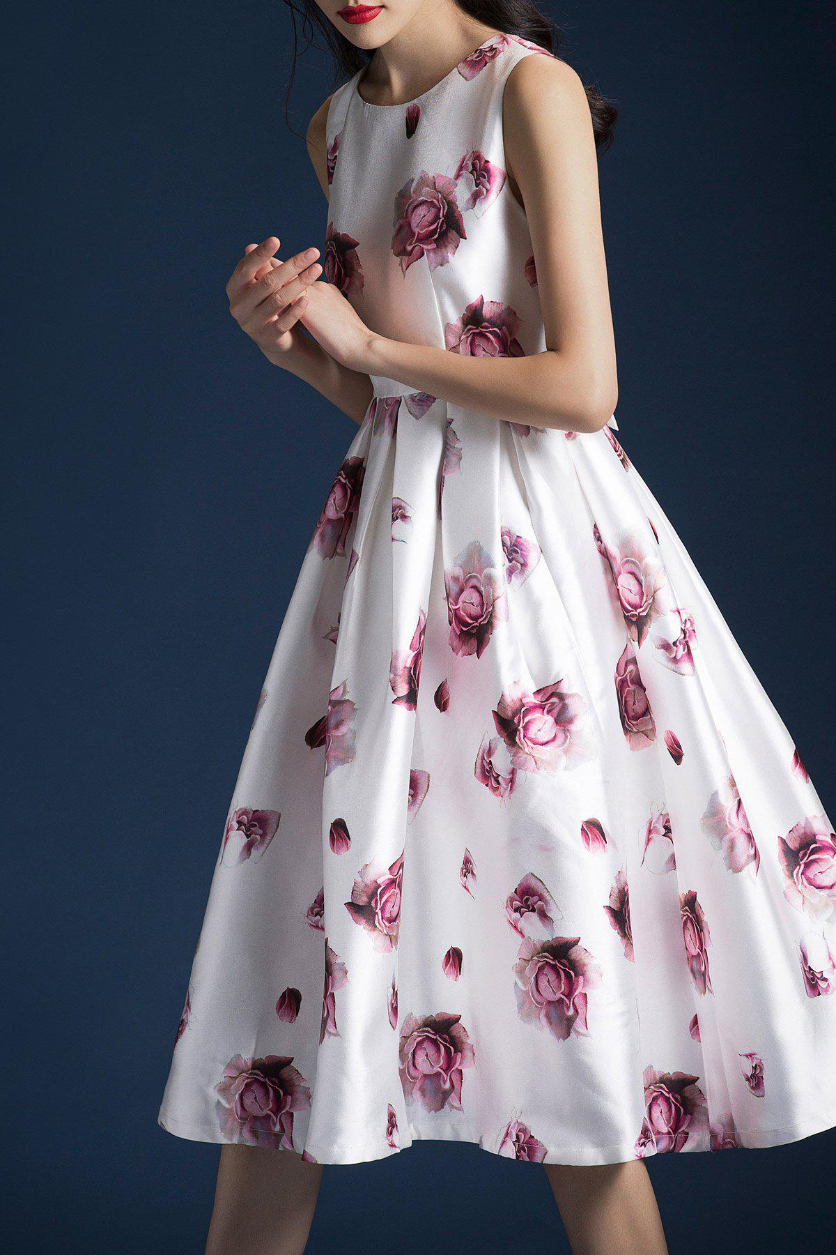 Waisted Floral A Line Dress, White
