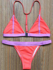 Bikini à Col Plongeant à Dos T - Rouge S