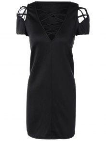 V Neck Strappy Shift Dress - Black L