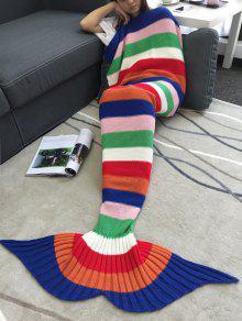 الاكريليك الحياكة الملونة مخطط حورية البحر الذيل تصميم بطانية