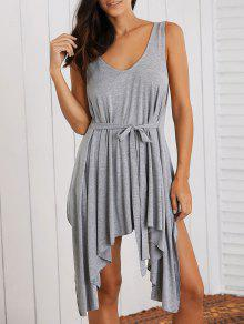 Buy Low Cut Layered Casual Dress - GRAY L