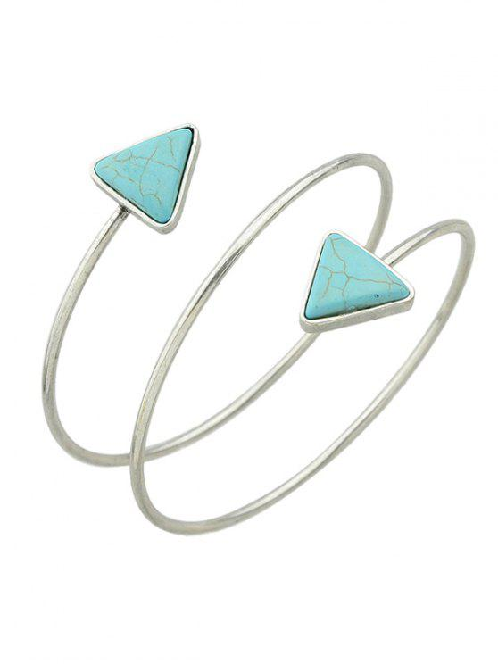 Chain Triangle Faux Turquoise Arm - Argent