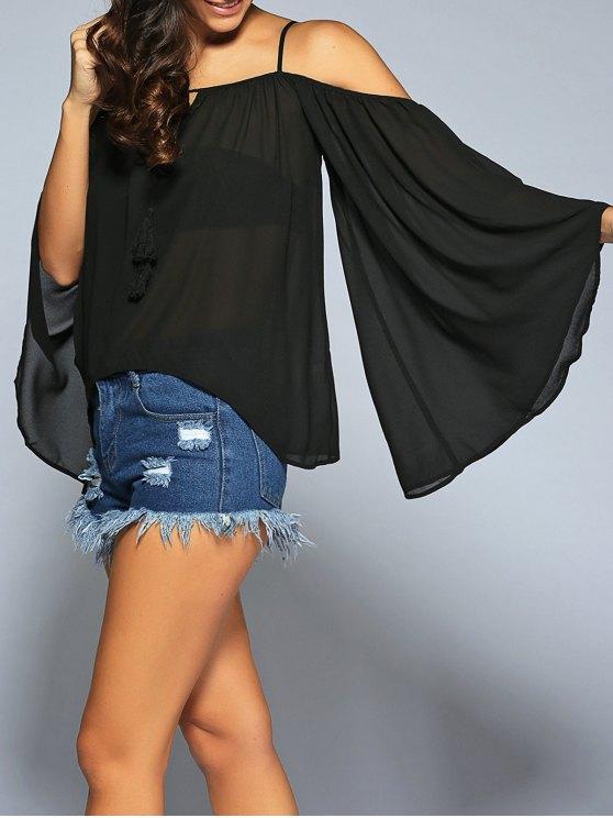 Llamarada de la manga de la blusa Cold Shoulder Cami - Negro S