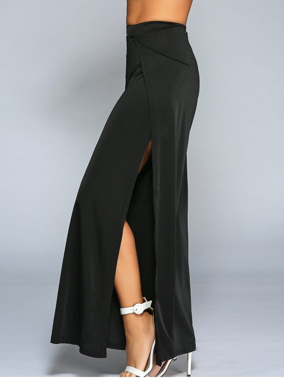 shop High Slit Wide Leg Pants - BLACK M