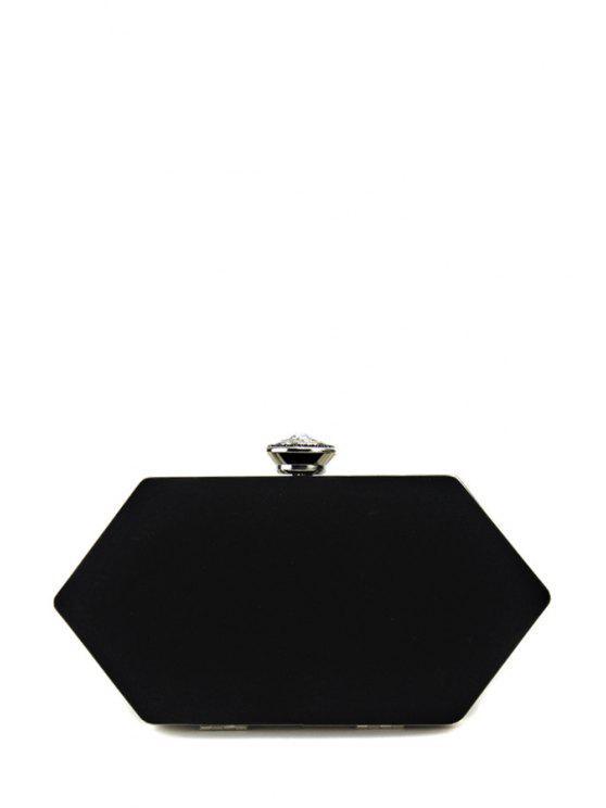 حقيبة للسهرات من قماش القطيفة على شكل سداسي - أسود