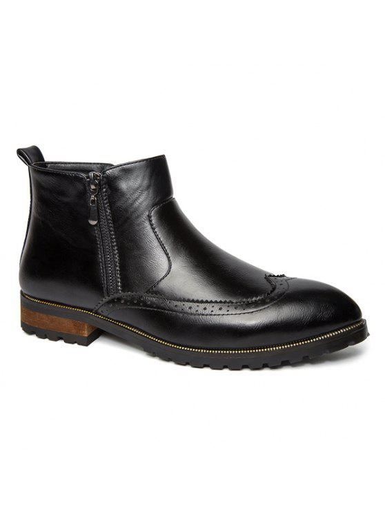 نقش نقطة اصبع القدم سستة الأحذية الجانبية - أسود 42