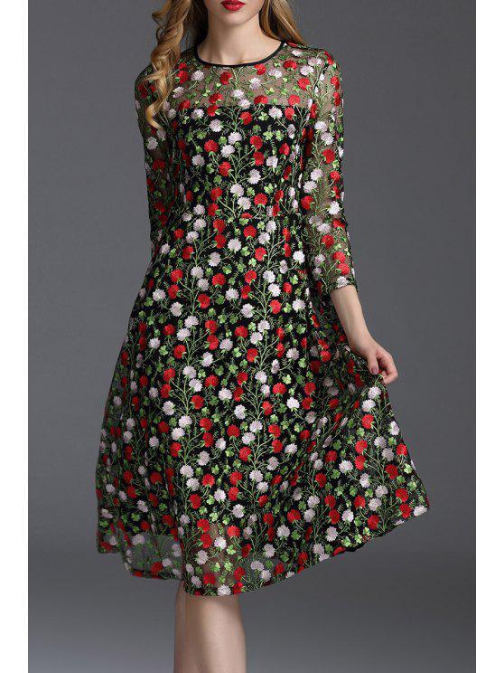 unique Embroidered Mesh A Line Dress - FLORAL S