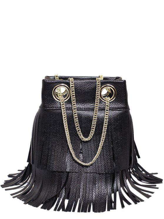 Borsello in pelle con catena Fringe PU - Nero
