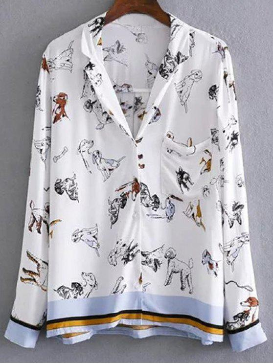613ec09a 28% OFF] 2019 Loose Dog Print Blouse In WHITE | ZAFUL