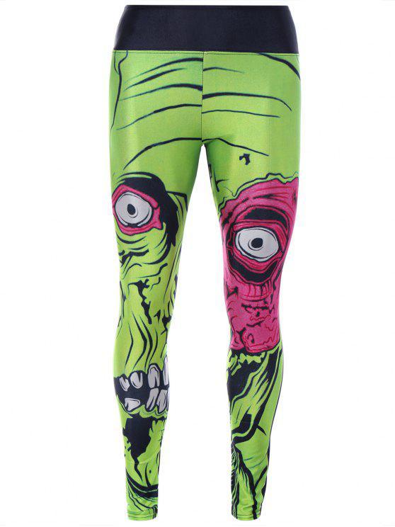 fancy Monster Print Sporty Leggings - GREEN ONE SIZE