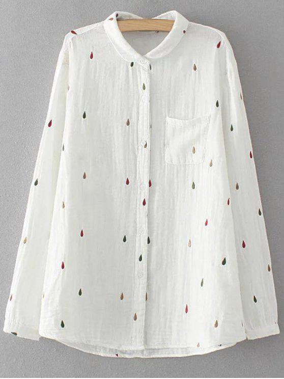 Shirt brodé en vrac - Blanc 3XL