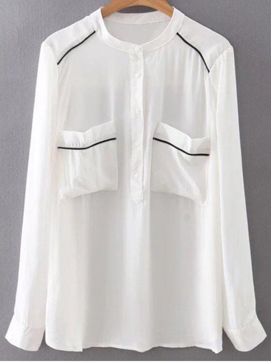 Poches Double Chiffon Shirt - Blanc M